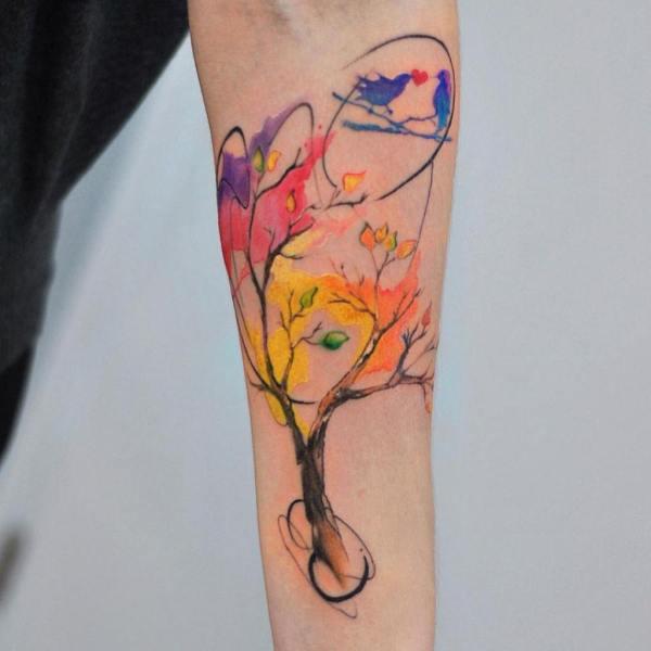aleksandra katsan lovebirds on tree tattoo