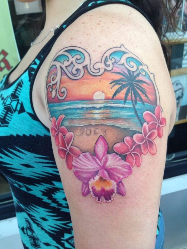 colorful summer sunset on beach frame picture tattoo on shoulder for women