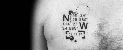 coordinate tattoo on chest for men