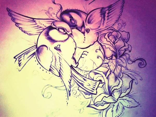 lovebirds tattoo drawing sketch design