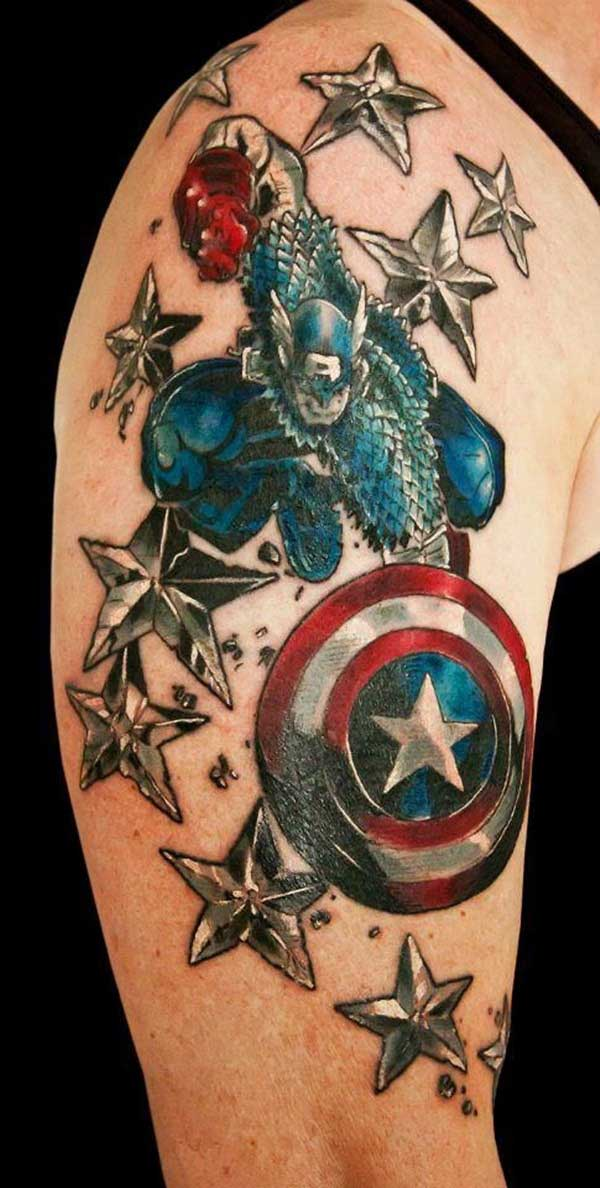 Captain America Shield with Silver and Blue stars for the shoulder Upper Sleeve