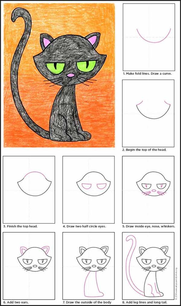 cat drawing ideas for halloween