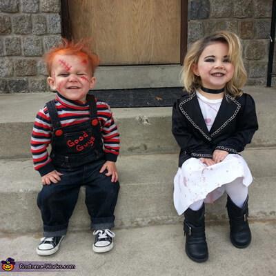 chucky and bride costume idea for kids