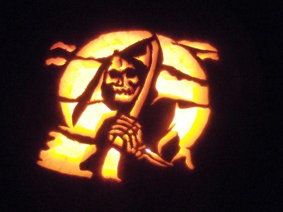 grim reaper pumpkin carved designs for halloween