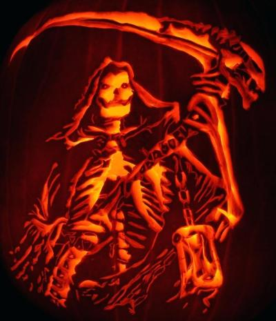 grim reaper pumpkin carving design patterns for halloween