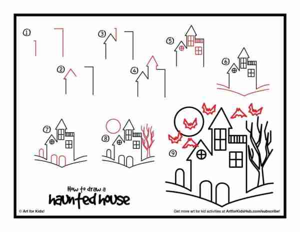 haunted house drawings step by step image for halloween