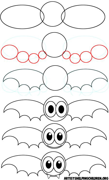 learn to draw easy halloween bat step by step