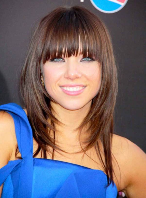 long inverted bob hairstyle with bangs