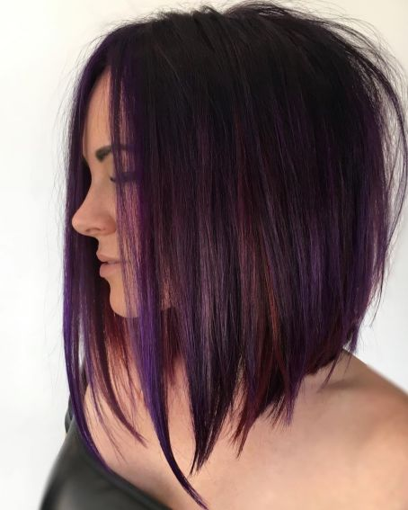 purple brown highlights long inverted bob hairstyle