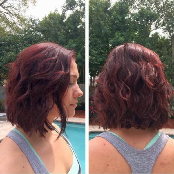 wavy blonde balayage inverted bob hairstyle