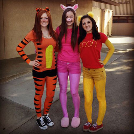 winnie the pooh cartoon tiger and bunny halloween costume ideas for group of girls
