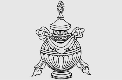 Buddhist vase symbol tattoo design sketch