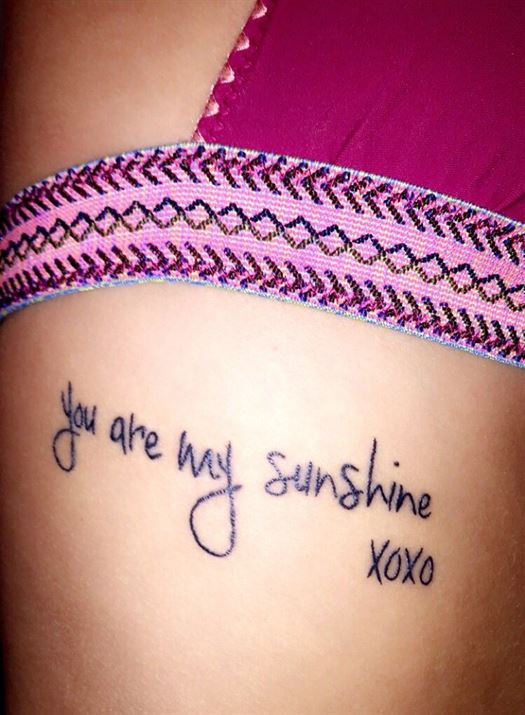 You Are My Sunshine Tattoo on Ribs