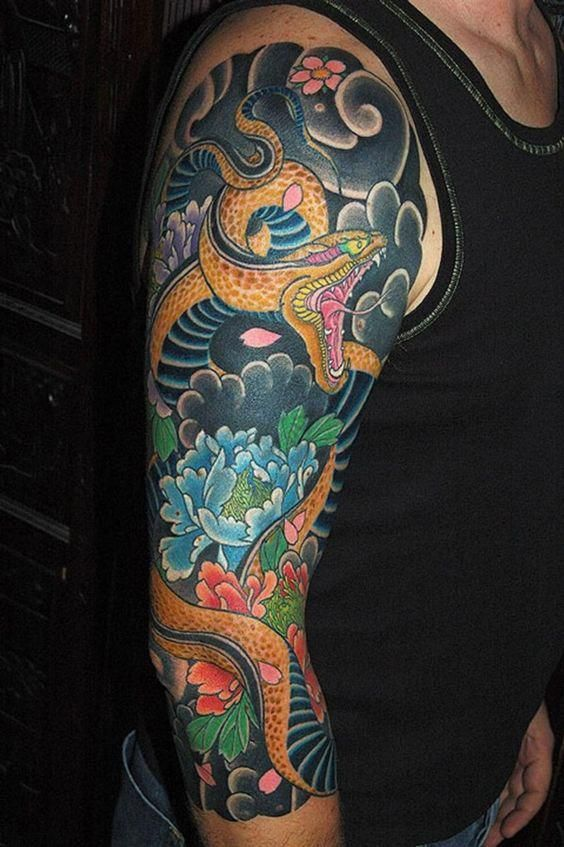 half sleeve peony flowers and snake tattoo for men