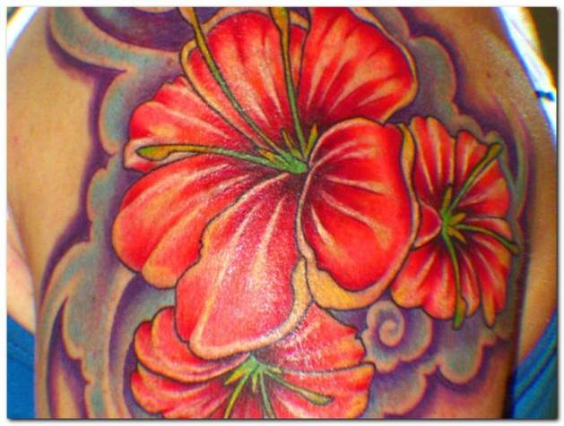 hibiscus flowers tattoo for men sleeve
