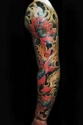 japanese lotus flowers arm tattoo for men