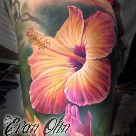 realistic hibiscus flower tattoo for men