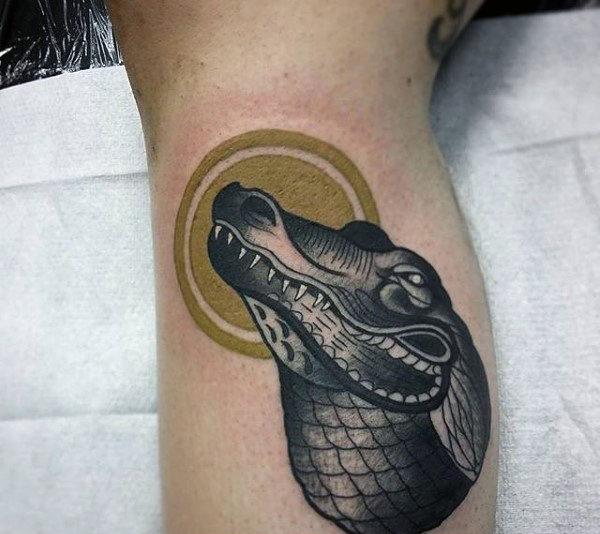 black crocodile face tattoo design for men