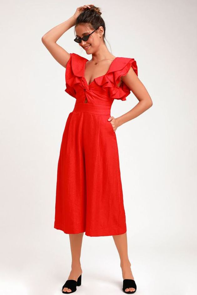 classic red jumpsuit ideas for spring 2019