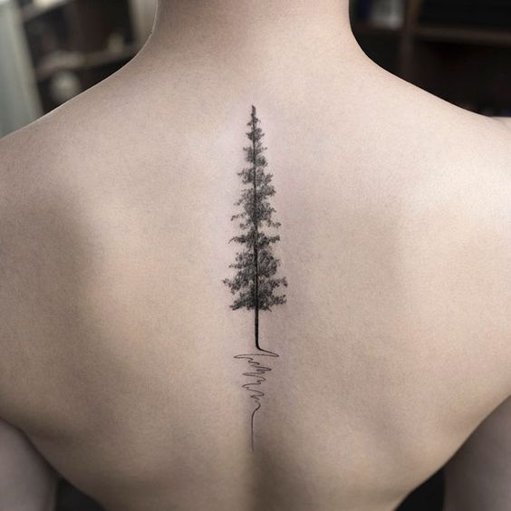 evergreen tree tattoo pattern on spine for females