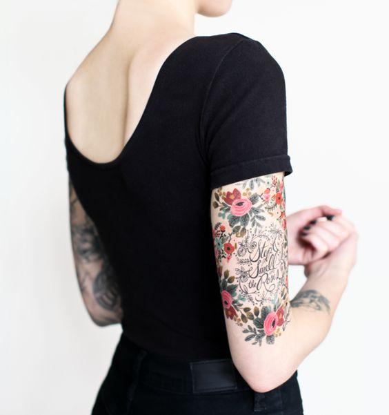 female quarter sleeve floral tattoo ideas
