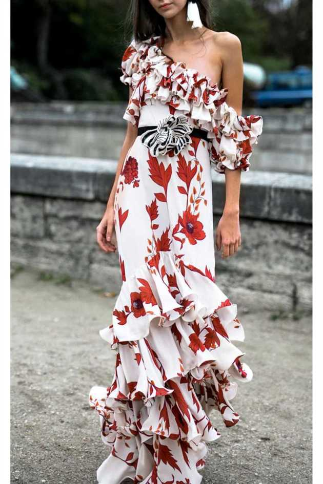 floral print one shoulder ruffle dress ideas for spring 2019