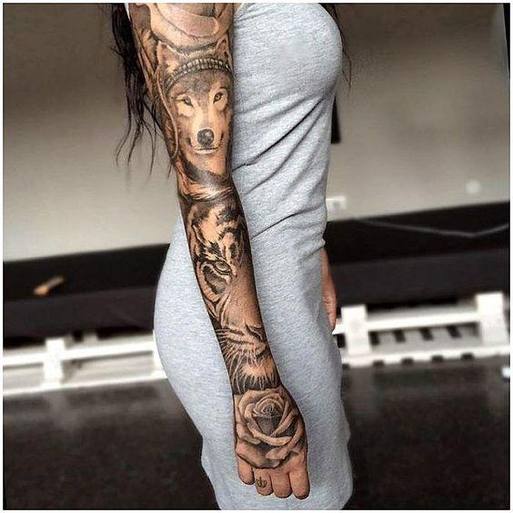 full sleeve animal rose tattoo design for girls