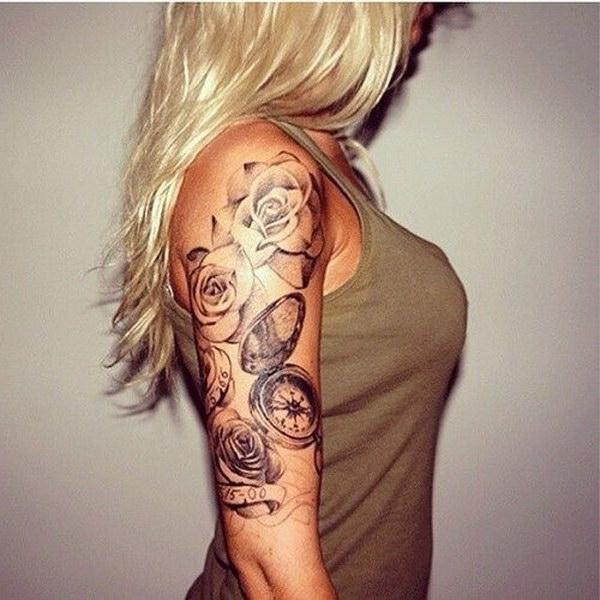 girl half sleeve roses and clock tattoo