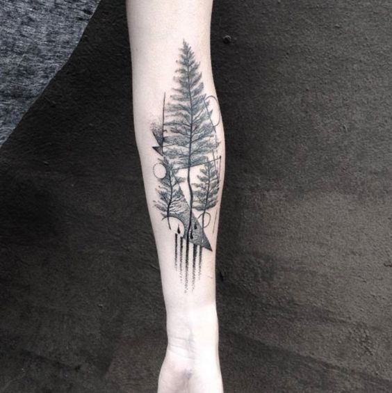 gradient forearm evergreen pattern tattoo
