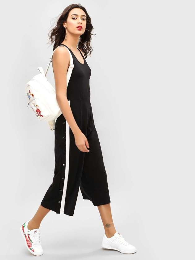 spring black taped jumpsuit ideas for 2019