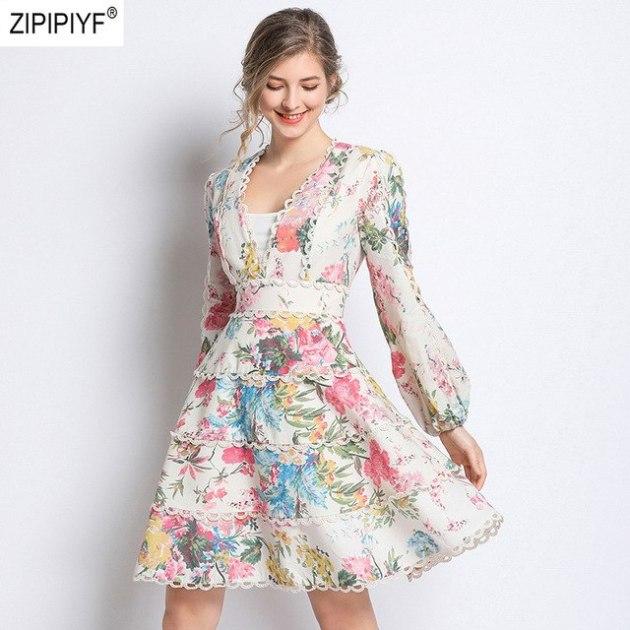 spring maxi flock floral v neck dress