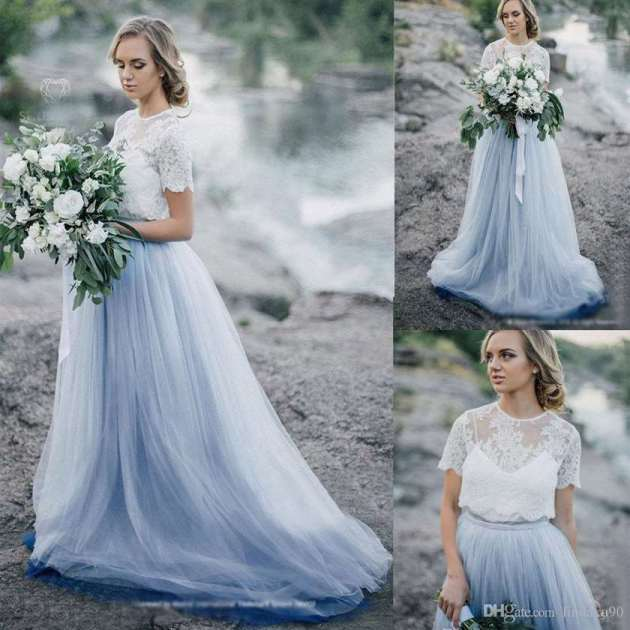 brides dusty blue wedding dress colors for 2019