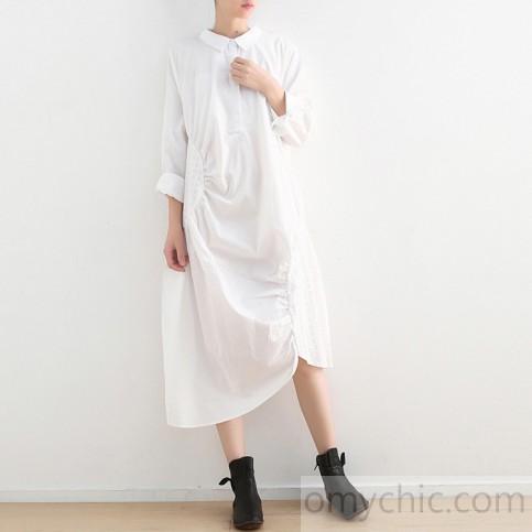 asymmetric white cotton dress