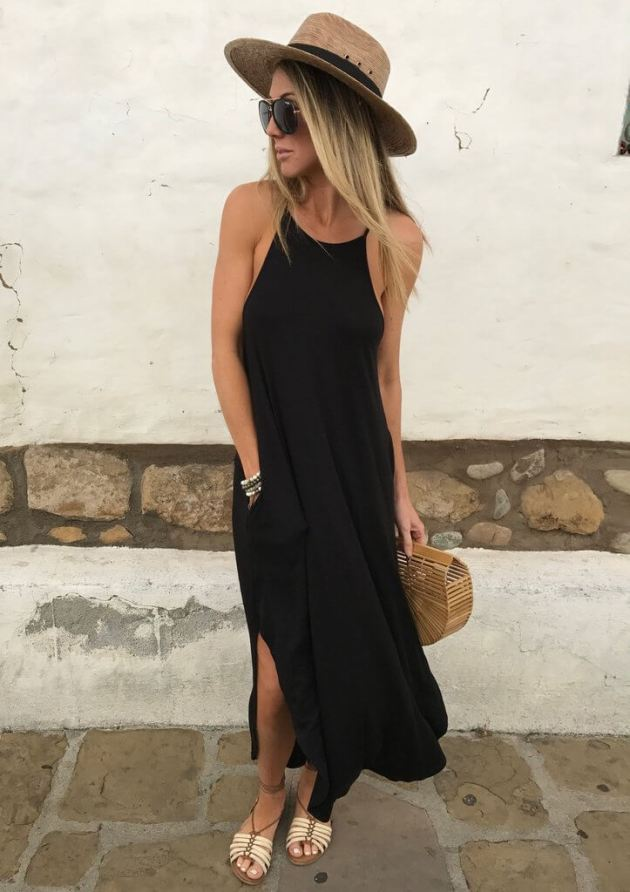 black cotton maxi dress