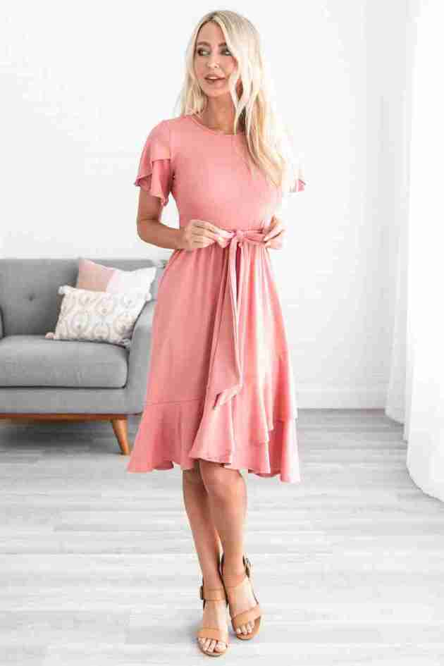 flutter midi cotton dress