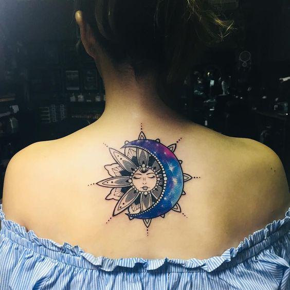 lovely mandala sun and moon tattoo design for females back
