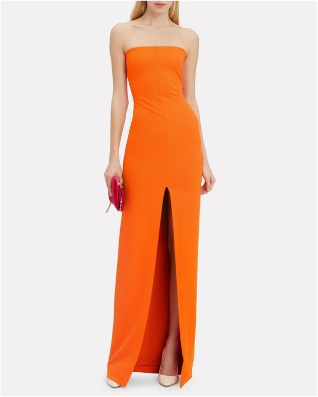 bold and bright strapless gown dress ideas for wedding guest
