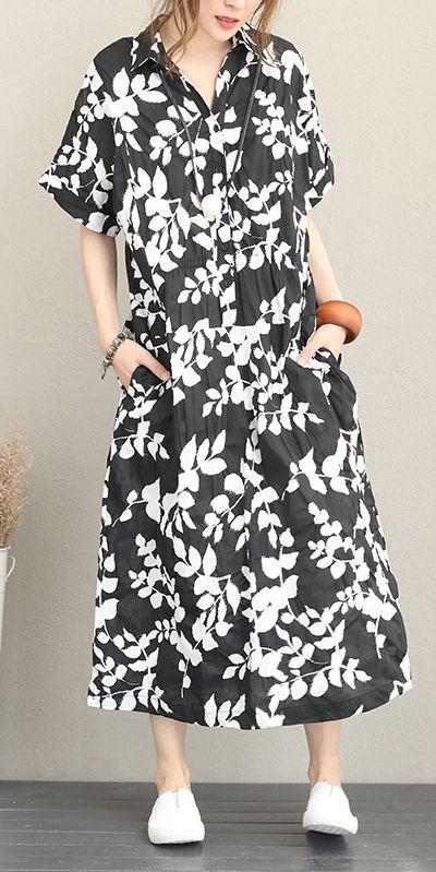 summer black floral maxi cotton dress for women