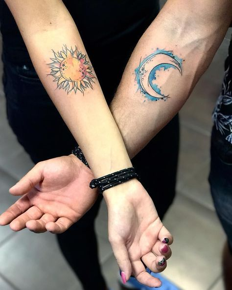 watercolor sun and moon tattoo designs for couples