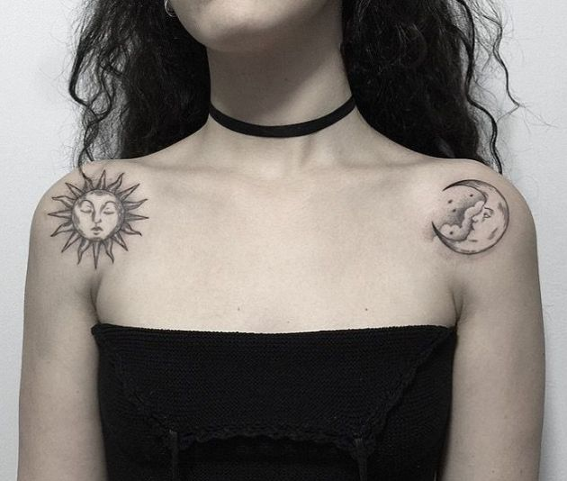 sun and moon tattoo design on shoulder for females