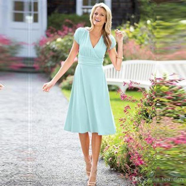 short frock style midi dress ideas for wedding guest ladies