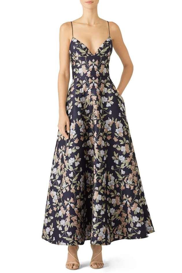 floral gown wedding guest dress ideas 2019