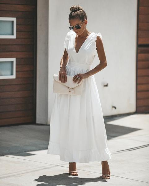 white cotton maxi dress