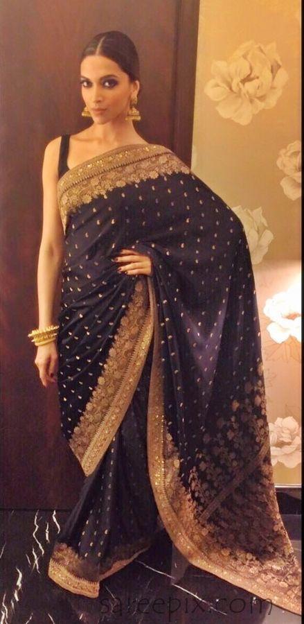 Deepika Padukone Black Saree