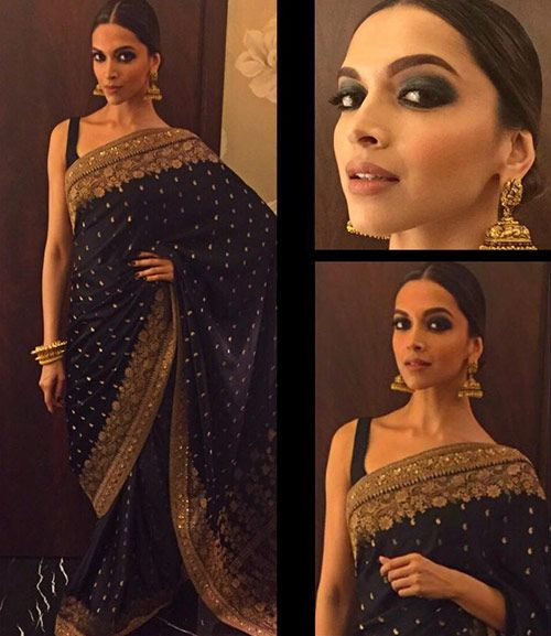 Deepika Padukone in Black Saree
