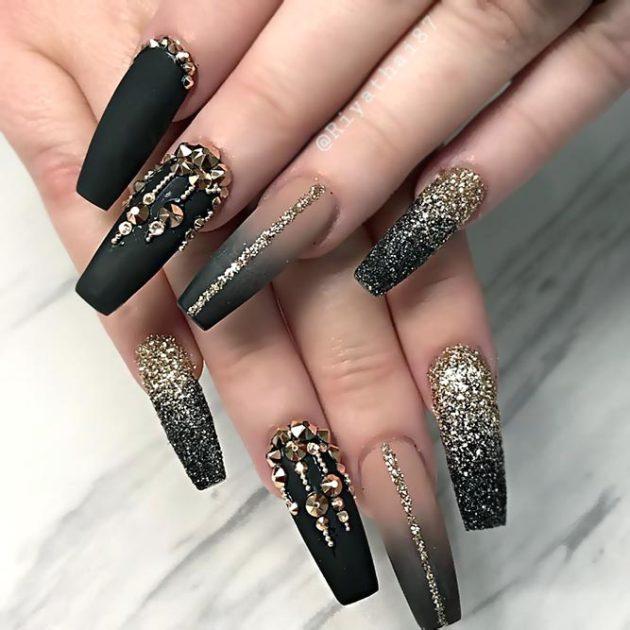 black ombre rhinestones nail designs with golden glitter