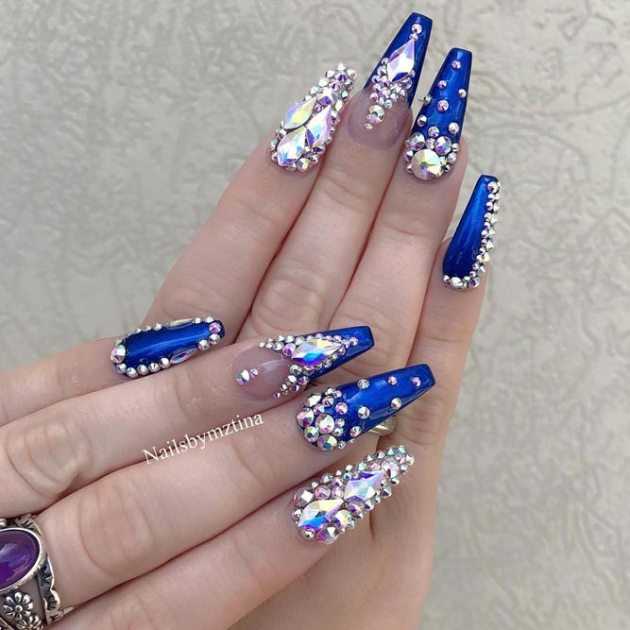 dark blue coffin nail art with pearls and diamonds