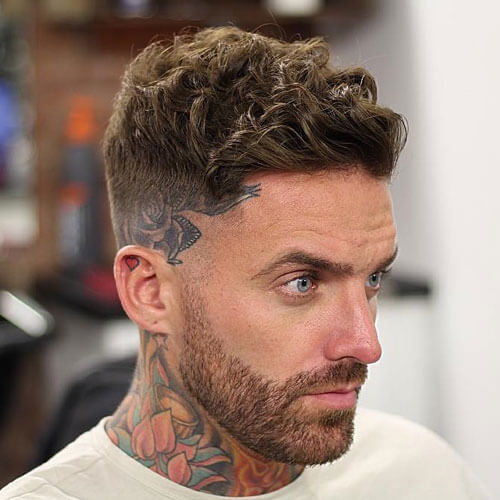 high fade short curly haircut for men