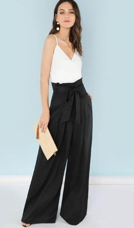 high waist pleated palazzo pant with bow belt