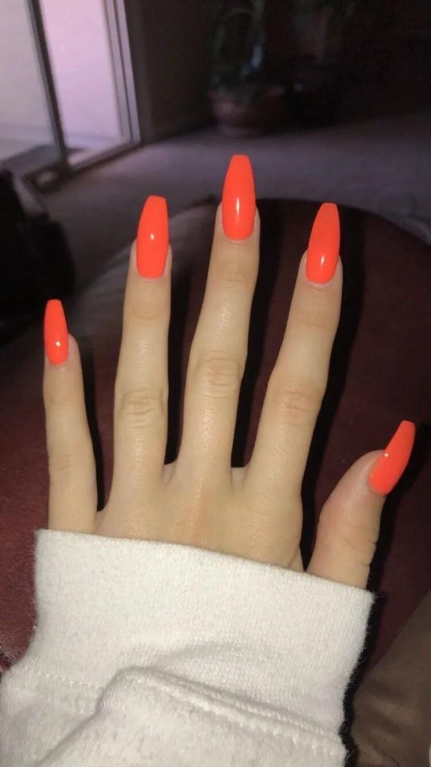 neon orange summer acrylic coffin nails